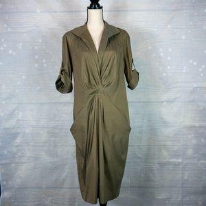 Lafayette 148 NY Olive Green Shirt Dress Size 16